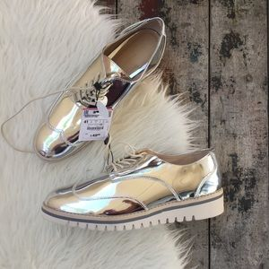 ZARA METALLIC OXFORD SHOES sz 10 women's NWT